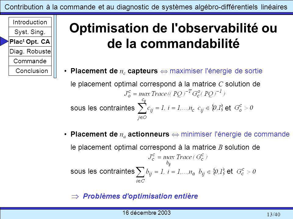 Optimisation de l observabilité ou de la commandabilité