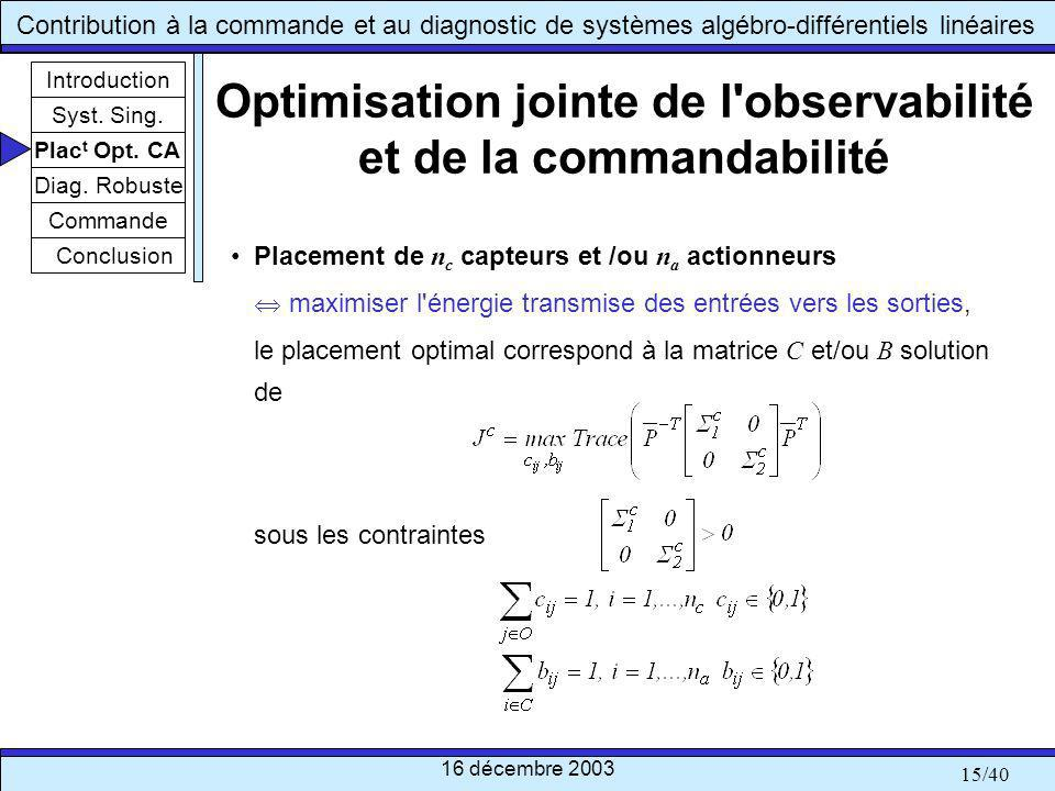 Optimisation jointe de l observabilité et de la commandabilité