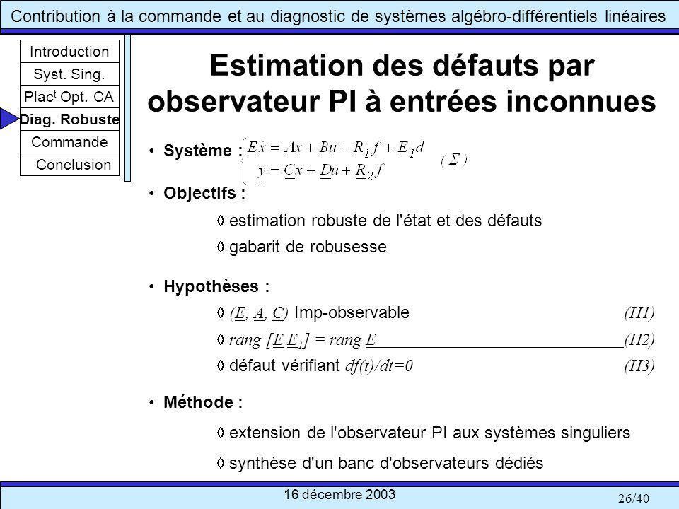 Estimation des défauts par observateur PI à entrées inconnues