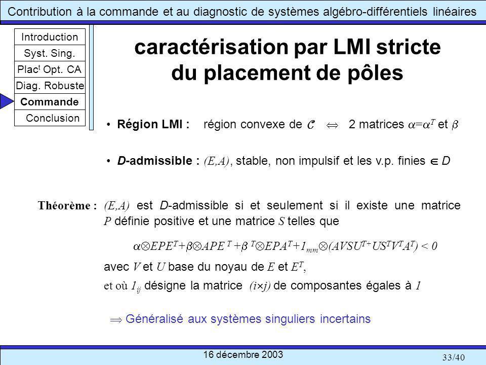 caractérisation par LMI stricte du placement de pôles