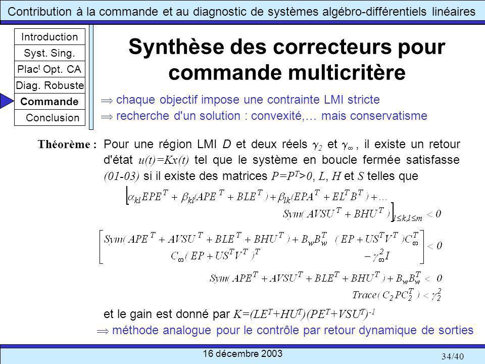 Synthèse des correcteurs pour commande multicritère