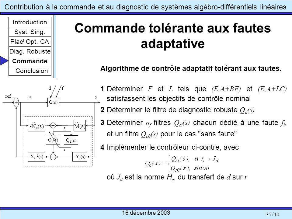 Commande tolérante aux fautes adaptative