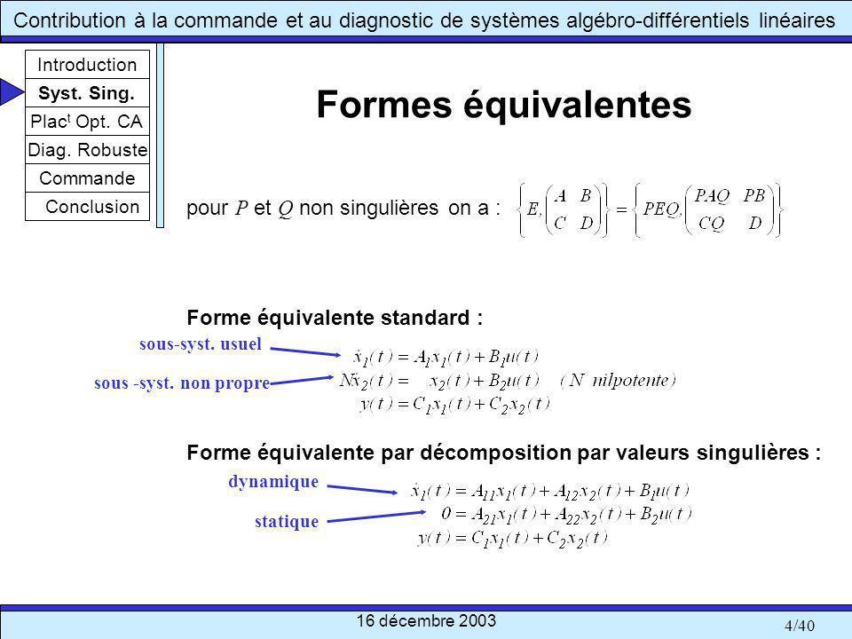 Formes équivalentes pour P et Q non singulières on a :