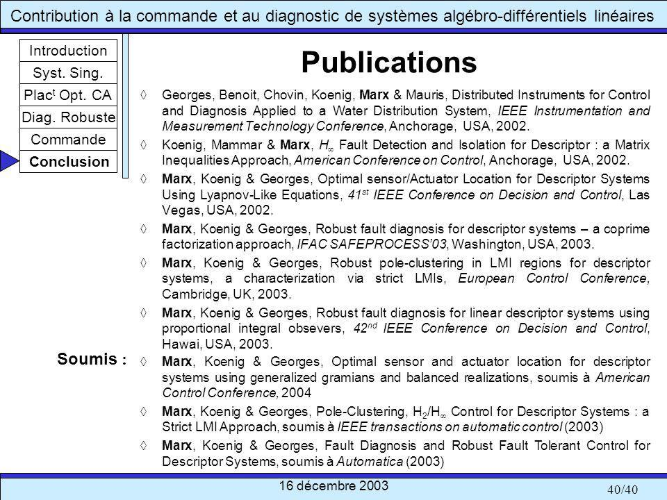 Publications Soumis : Introduction Syst. Sing. Plact Opt. CA