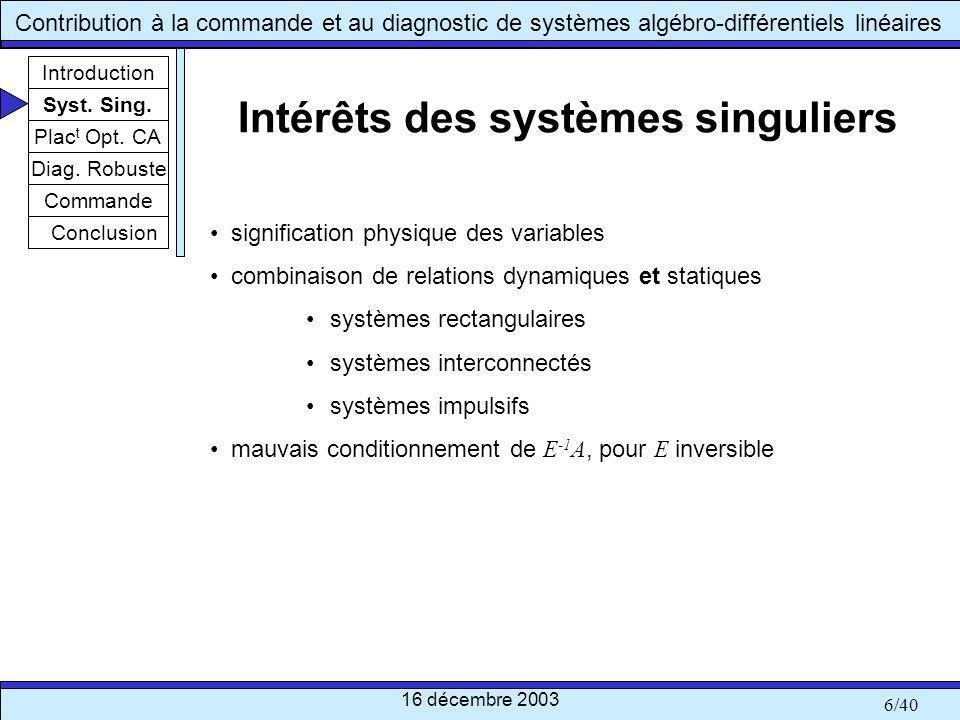 Intérêts des systèmes singuliers