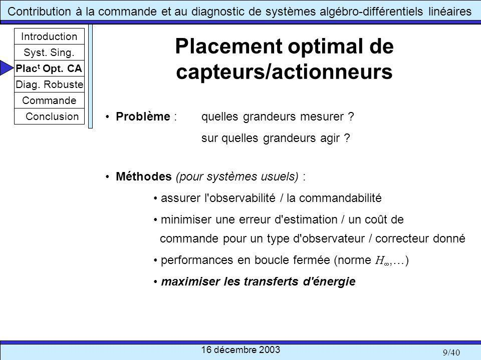 Placement optimal de capteurs/actionneurs