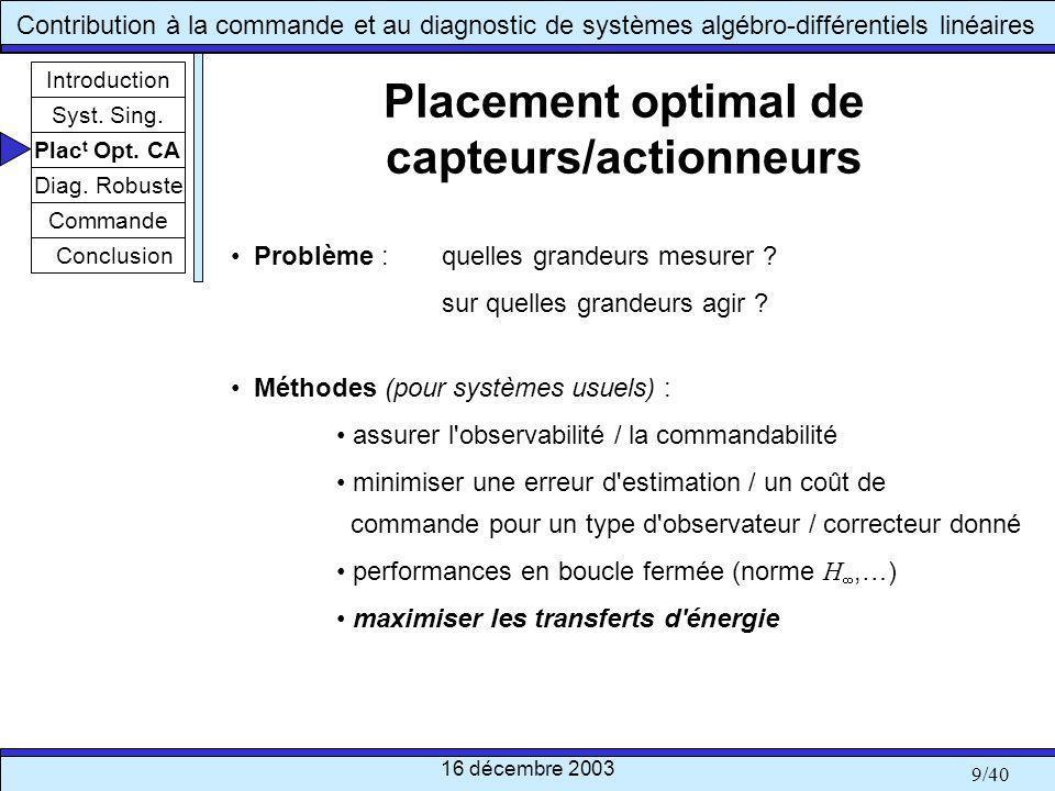 Placement optimal de capteurs/actionneurs