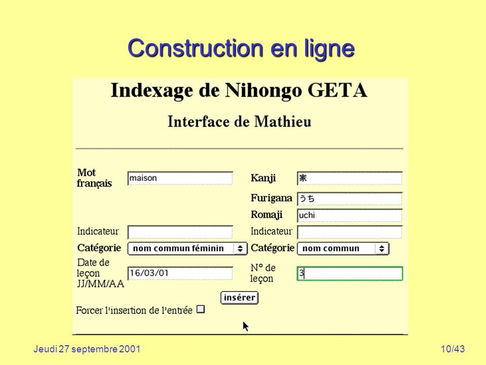 Construction en ligne Jeudi 27 septembre 2001