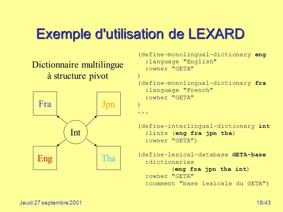 Exemple d utilisation de LEXARD