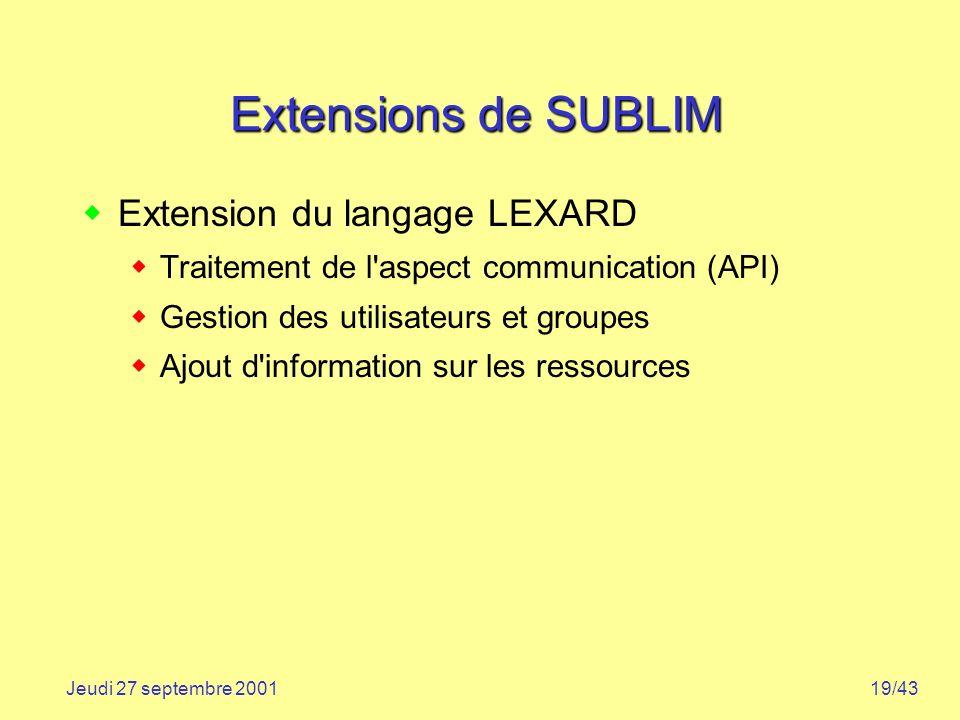 Extensions de SUBLIM Extension du langage LEXARD