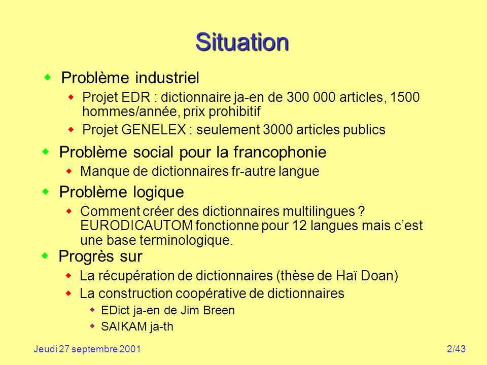 Situation Problème industriel Problème social pour la francophonie