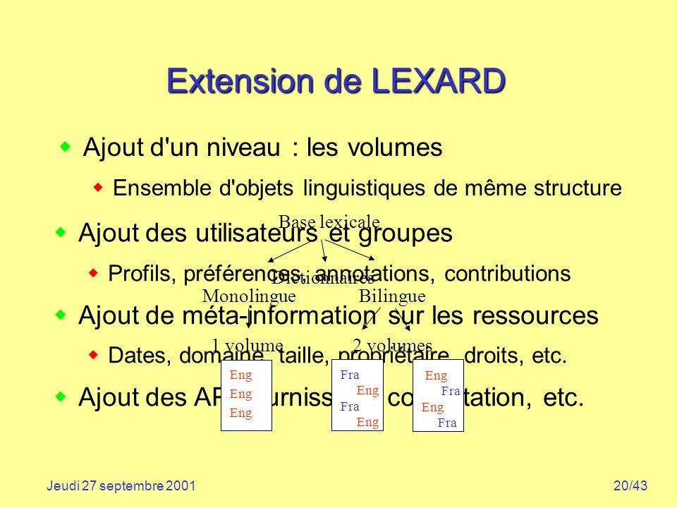 Extension de LEXARD Ajout d un niveau : les volumes