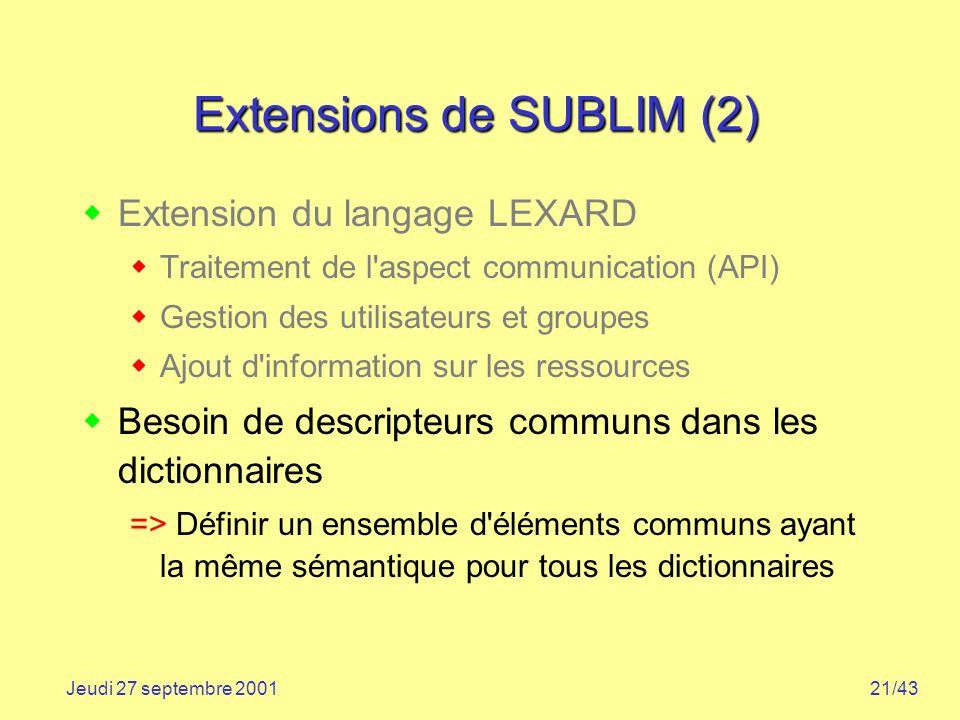 Extensions de SUBLIM (2)