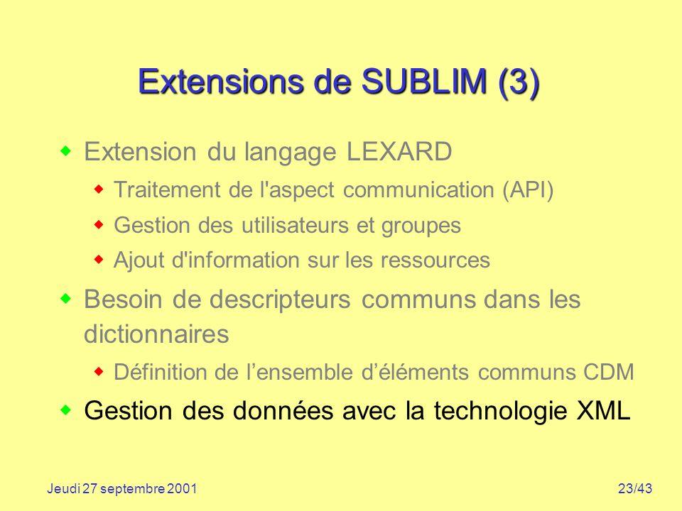 Extensions de SUBLIM (3)