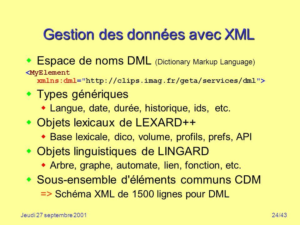 Gestion des données avec XML