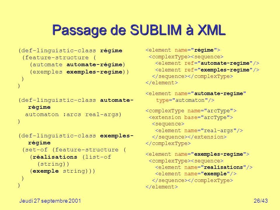 Passage de SUBLIM à XML (def-linguistic-class régime