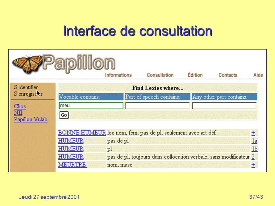 Interface de consultation