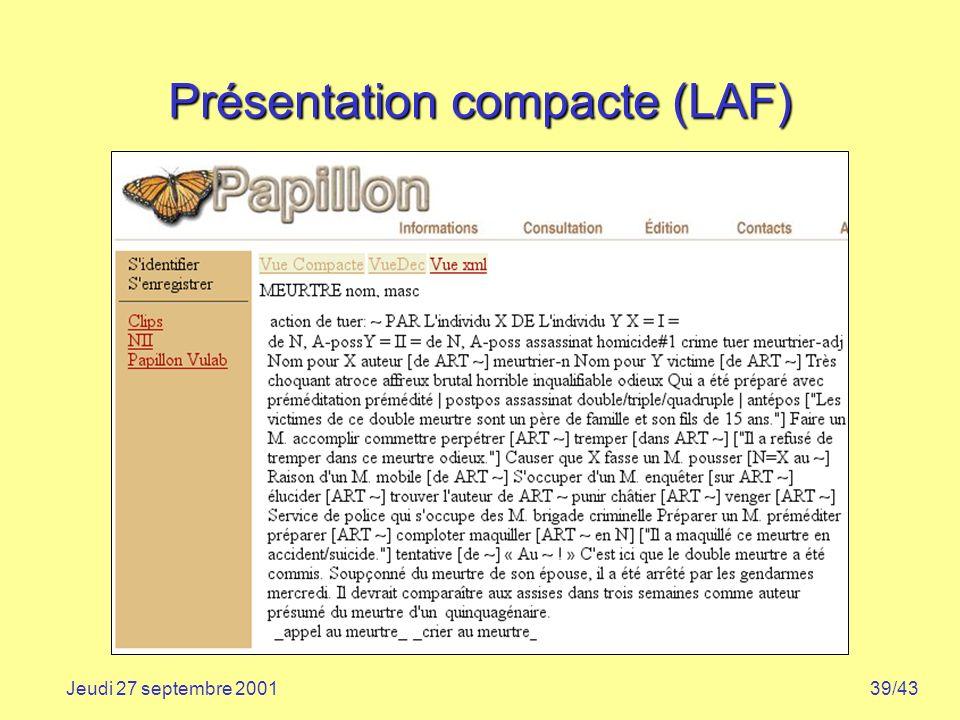 Présentation compacte (LAF)