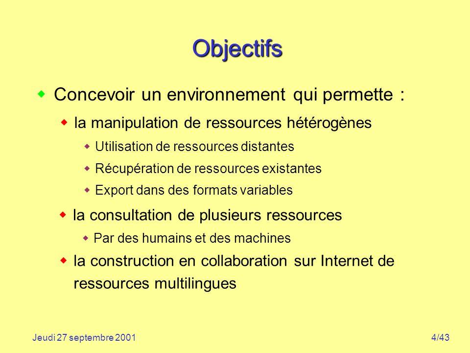 Objectifs Concevoir un environnement qui permette :