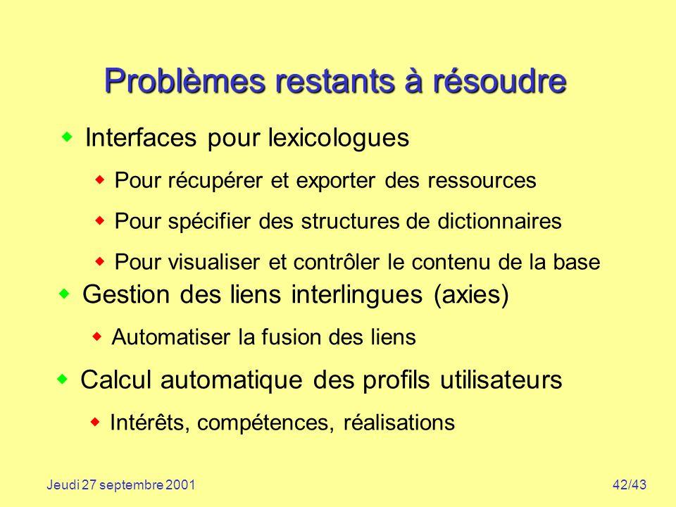 Problèmes restants à résoudre