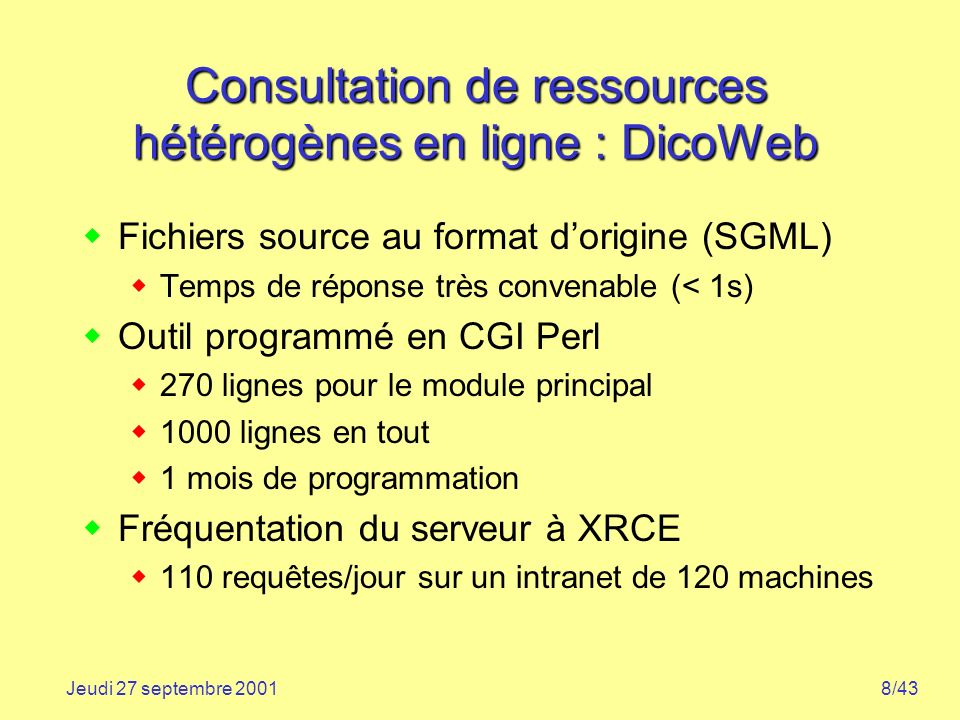 Consultation de ressources hétérogènes en ligne : DicoWeb