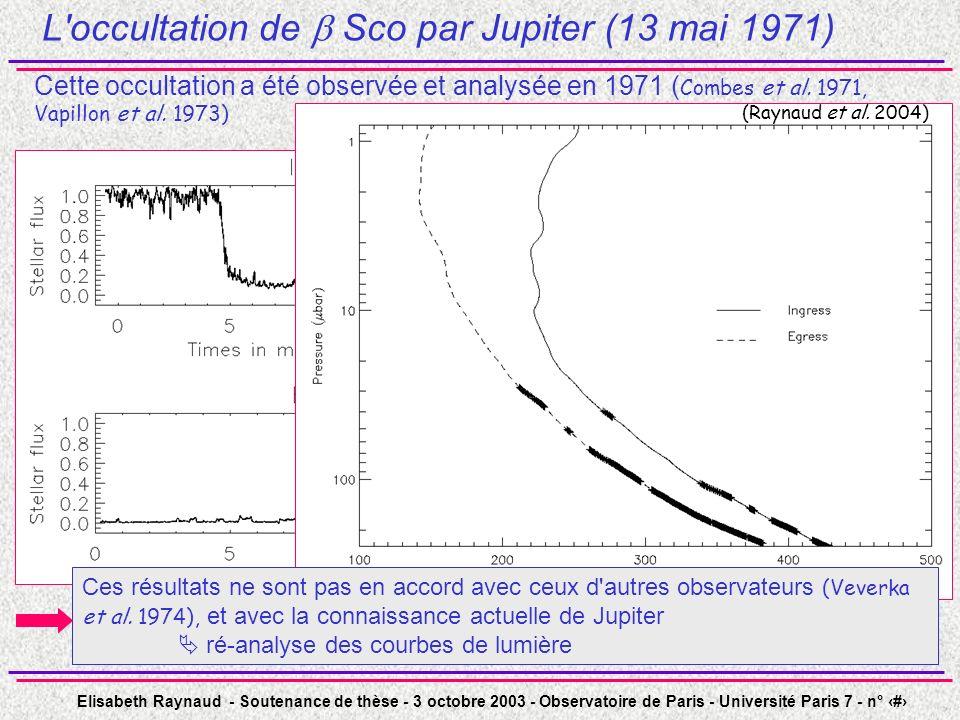 L occultation de  Sco par Jupiter (13 mai 1971)