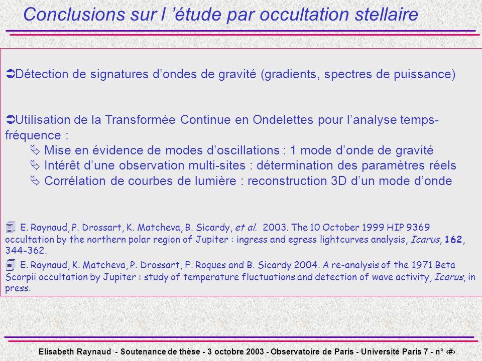 Conclusions sur l 'étude par occultation stellaire