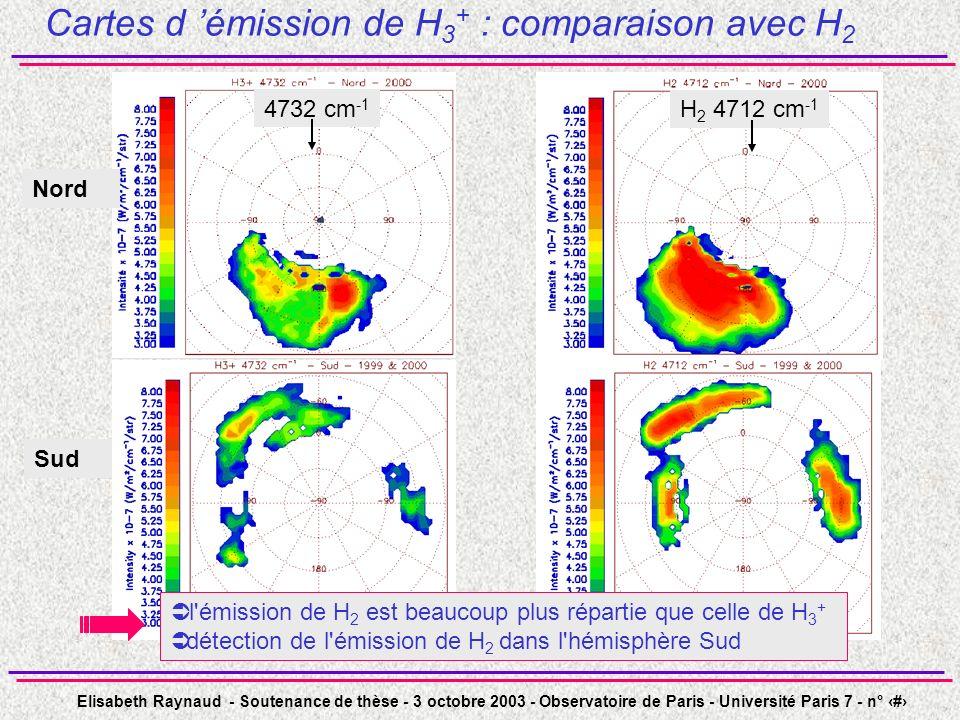 Cartes d 'émission de H3+ : comparaison avec H2