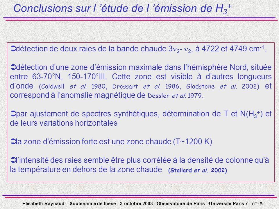 Conclusions sur l 'étude de l 'émission de H3+