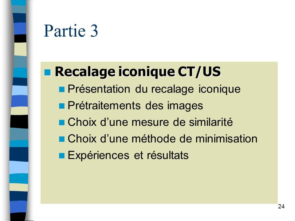 Partie 3 Recalage iconique CT/US Présentation du recalage iconique