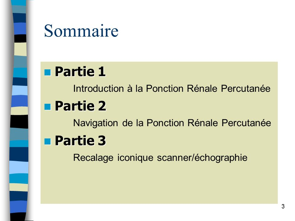 Sommaire Partie 1 Introduction à la Ponction Rénale Percutanée