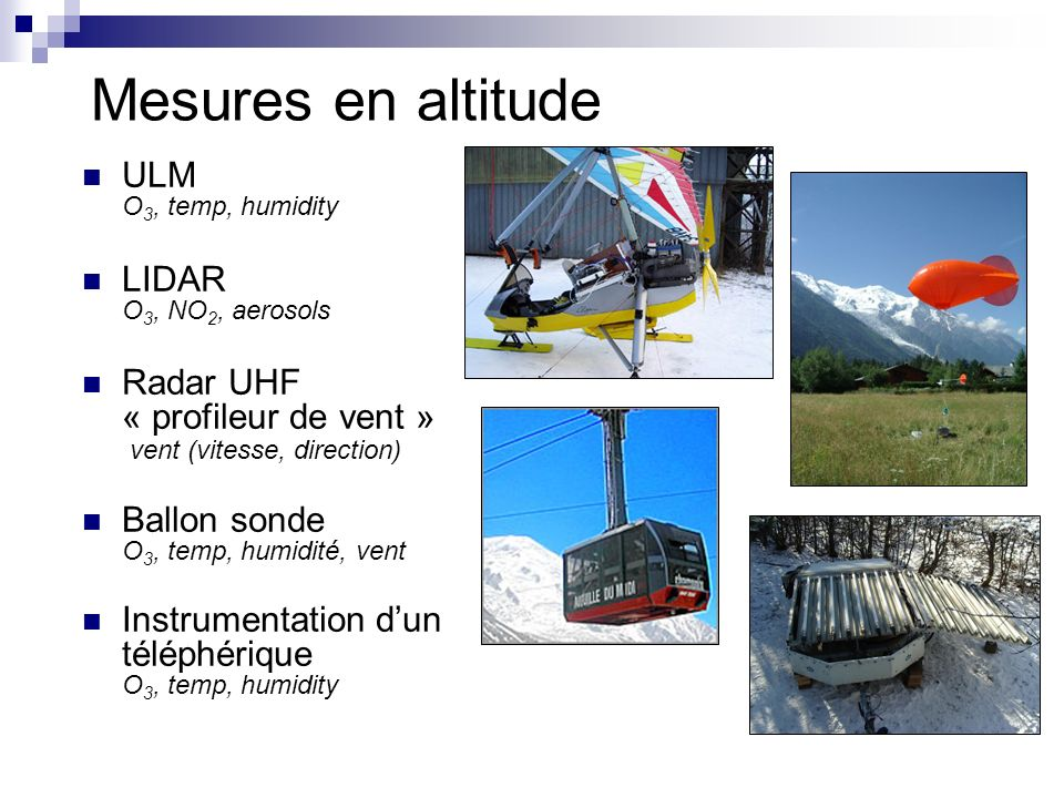 Mesures en altitude ULM O3, temp, humidity LIDAR O3, NO2, aerosols