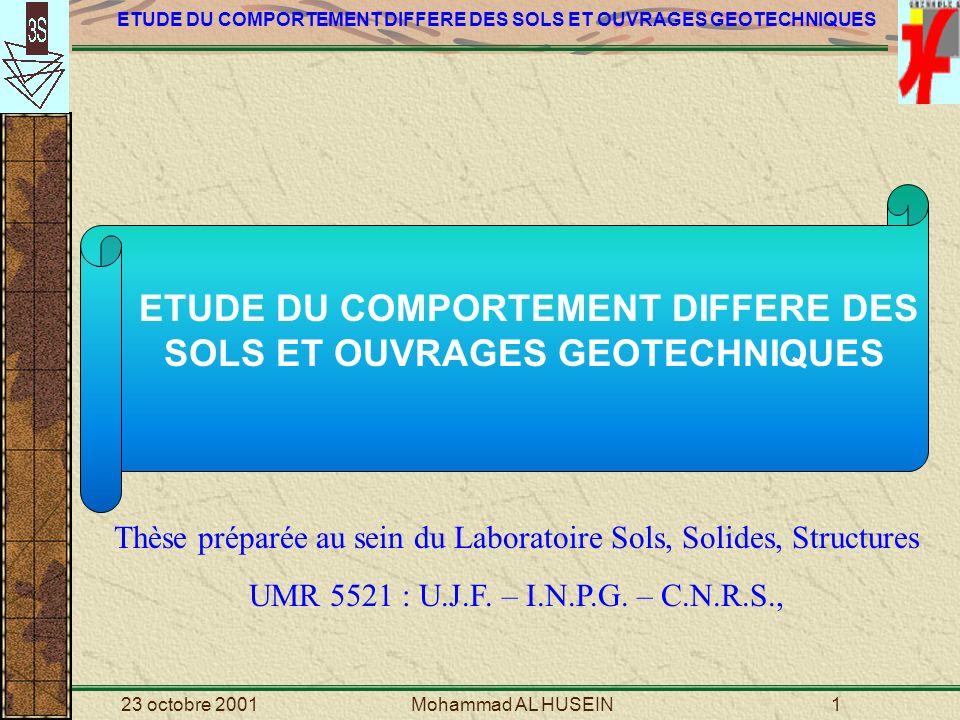ETUDE DU COMPORTEMENT DIFFERE DES SOLS ET OUVRAGES GEOTECHNIQUES