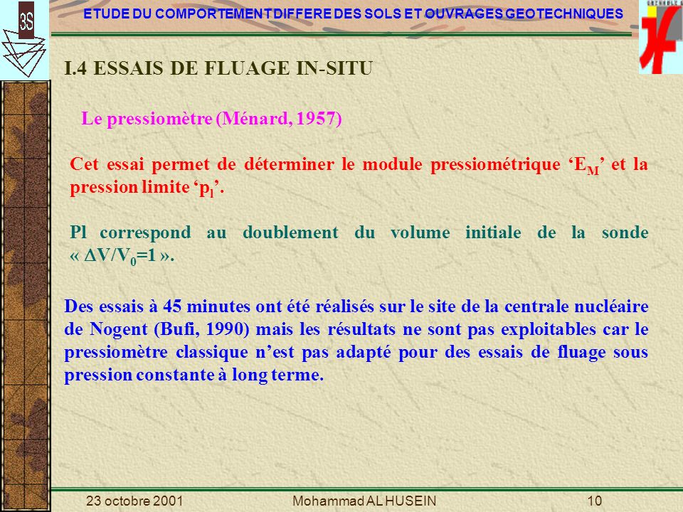 I.4 ESSAIS DE FLUAGE IN-SITU