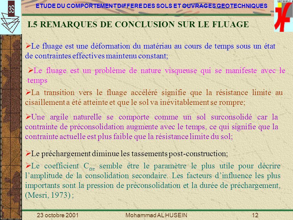 I.5 REMARQUES DE CONCLUSION SUR LE FLUAGE