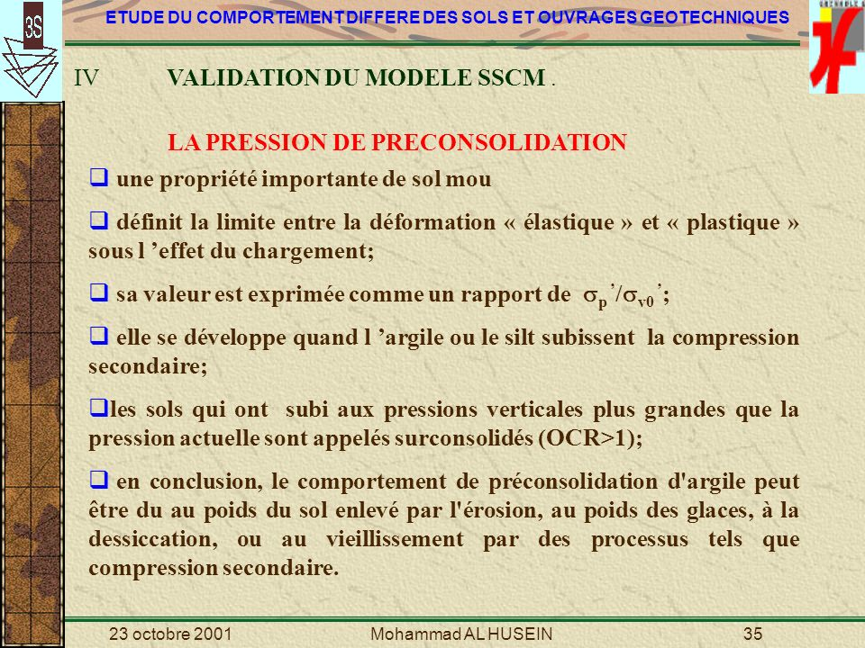 IV VALIDATION DU MODELE SSCM .