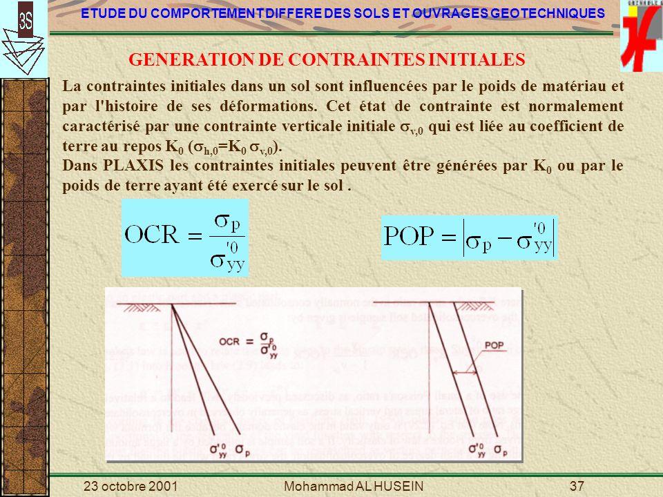 GENERATION DE CONTRAINTES INITIALES