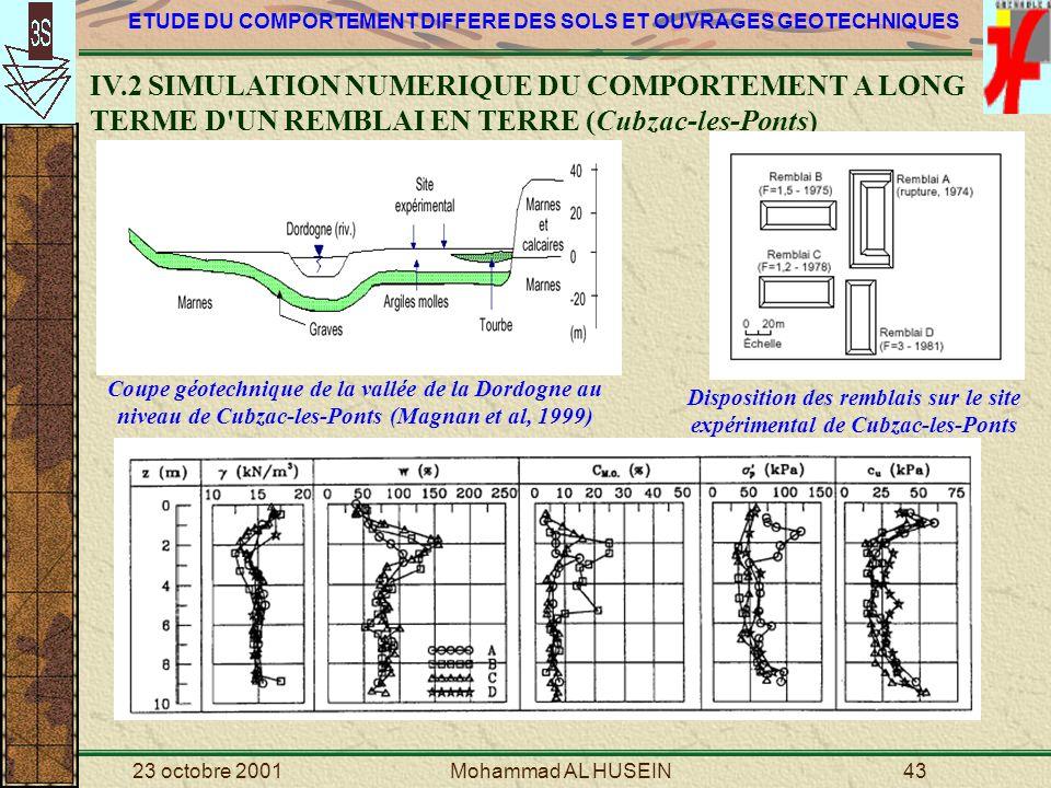 Disposition des remblais sur le site expérimental de Cubzac-les-Ponts