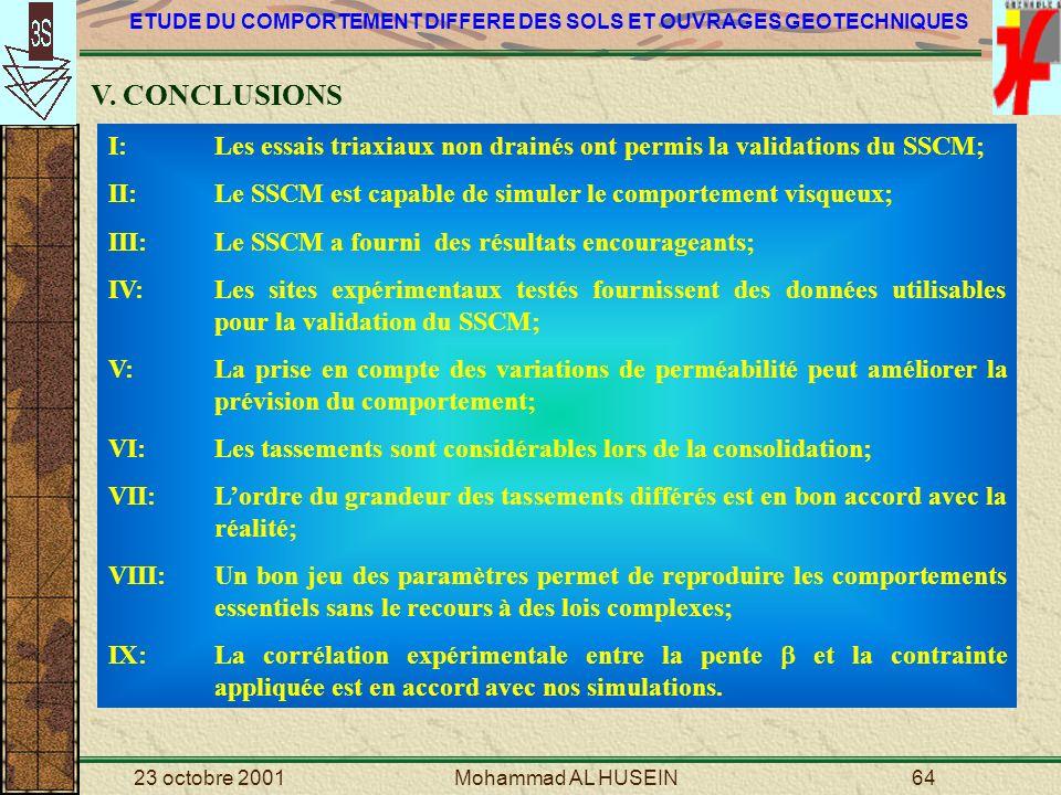 V. CONCLUSIONS I: Les essais triaxiaux non drainés ont permis la validations du SSCM; II: Le SSCM est capable de simuler le comportement visqueux;