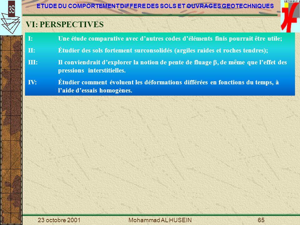 VI: PERSPECTIVES I: Une étude comparative avec d'autres codes d'éléments finis pourrait être utile;