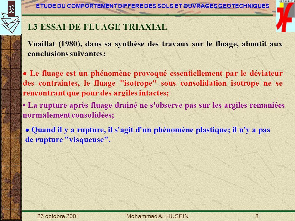 I.3 ESSAI DE FLUAGE TRIAXIAL