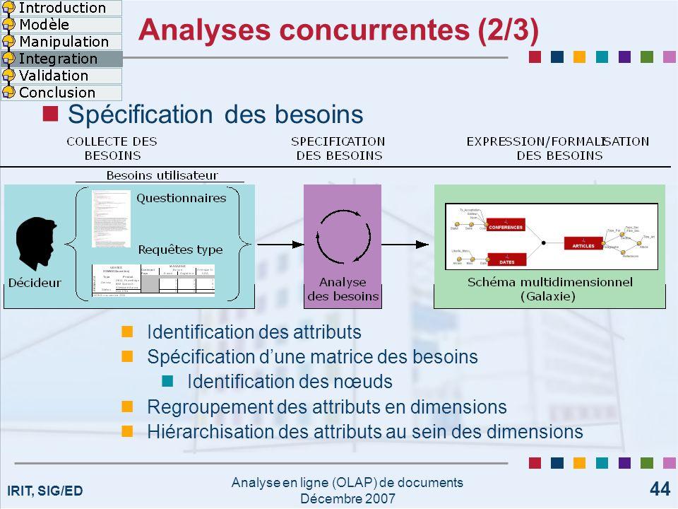 Analyses concurrentes (2/3)