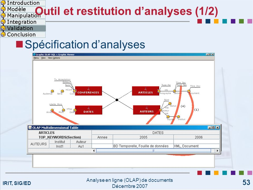 Outil et restitution d'analyses (1/2)