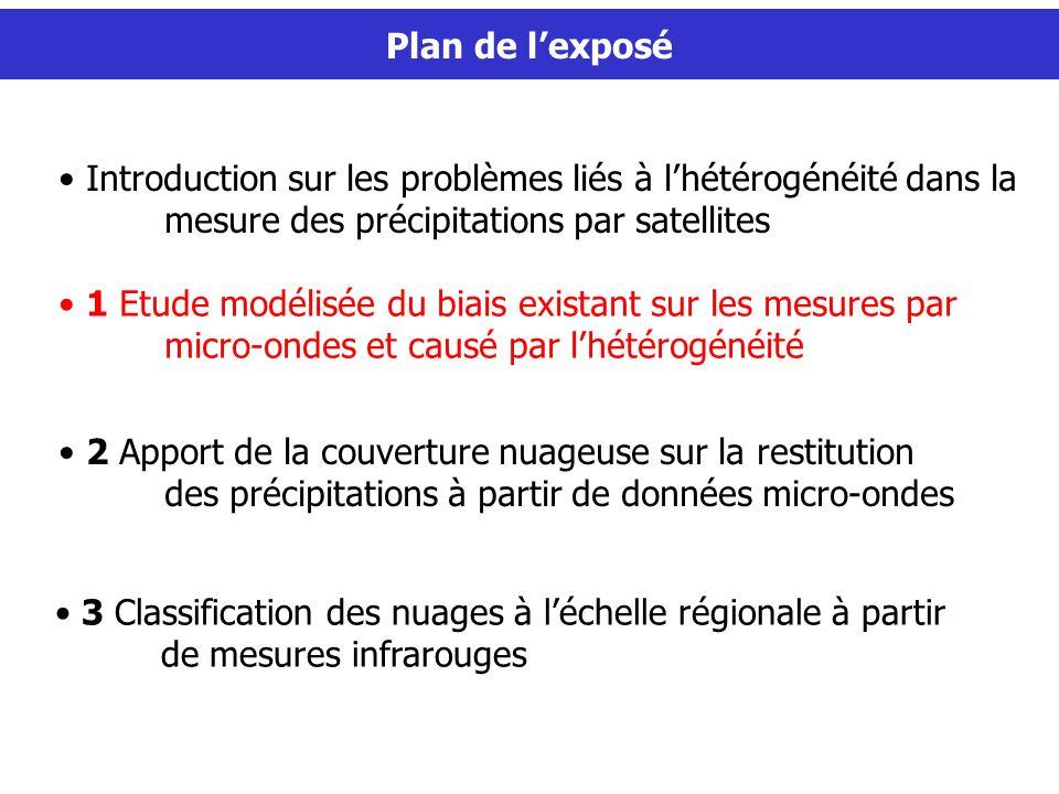 Plan de l'exposé Introduction sur les problèmes liés à l'hétérogénéité dans la mesure des précipitations par satellites.