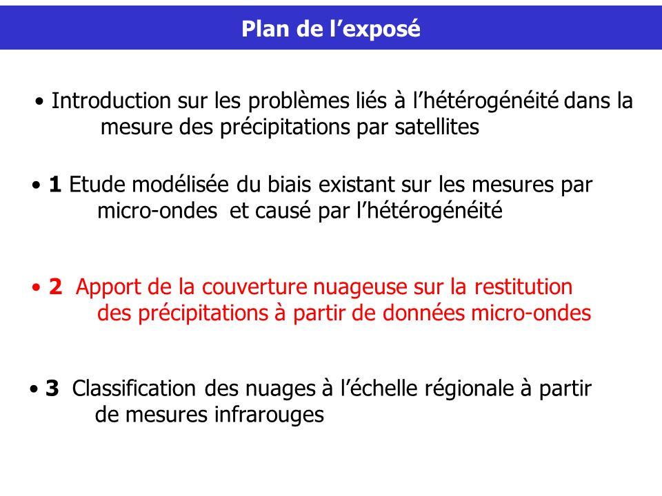 Plan de l'exposé Plan de l'exposé. Introduction sur les problèmes liés à l'hétérogénéité dans la mesure des précipitations par satellites.
