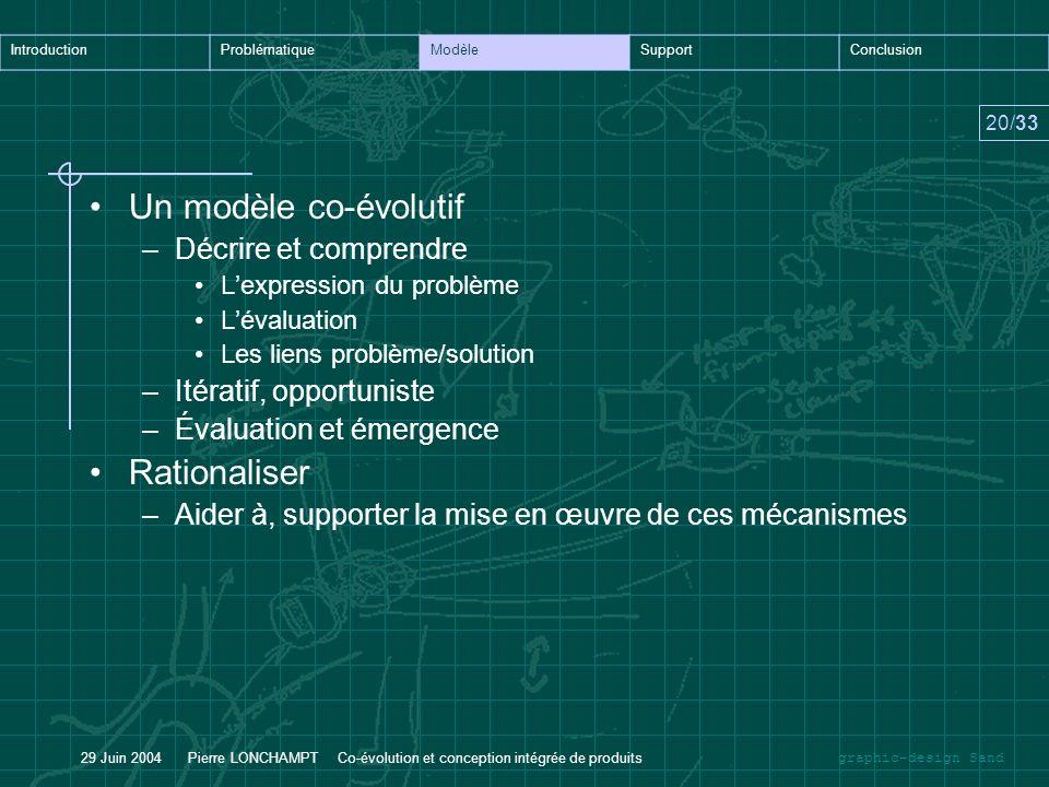 Un modèle co-évolutif Rationaliser Décrire et comprendre