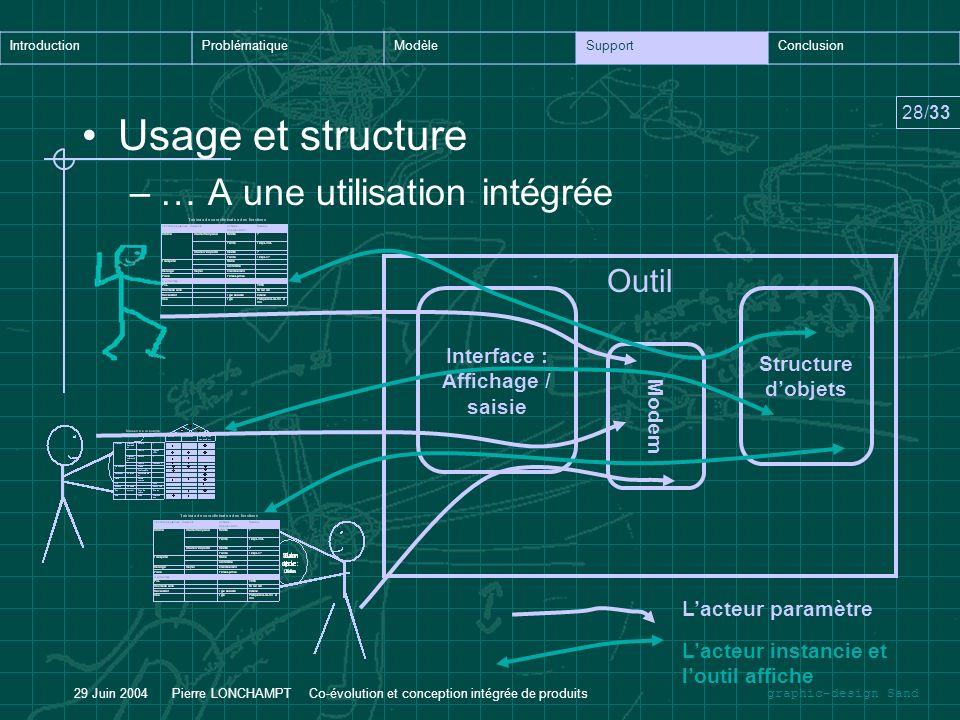 Usage et structure … A une utilisation intégrée Outil Interface :