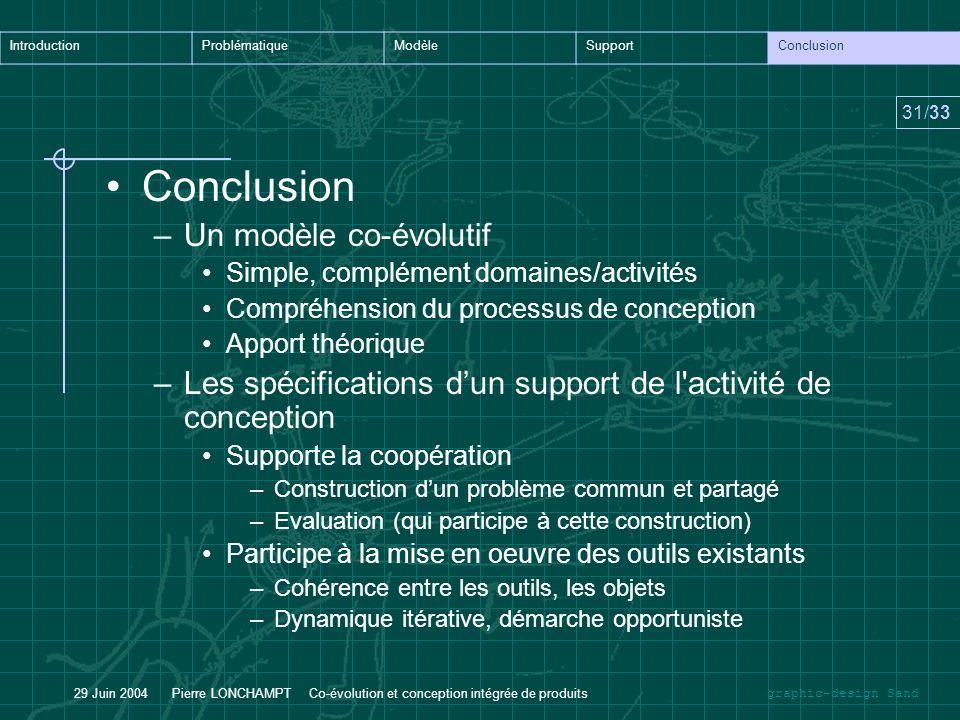 Conclusion Un modèle co-évolutif