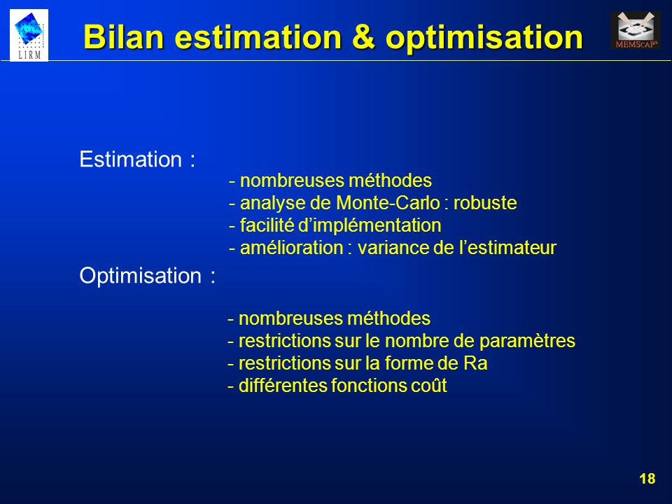 Bilan estimation & optimisation