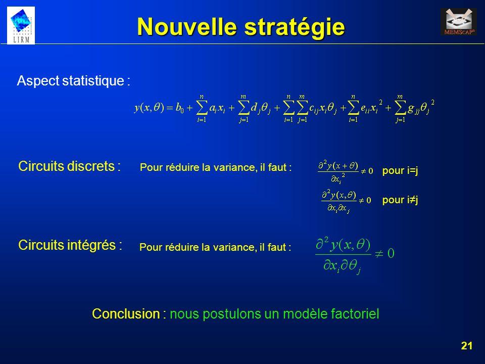 Nouvelle stratégie Aspect statistique : Circuits discrets :